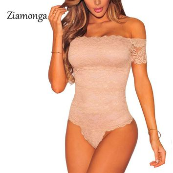 Ziamonga Sexy Slash Neck Off Shoulder Lace Bodysuit One Piece Leotard Women Jumpsuit Overall American Apparel Outfits Catsuit