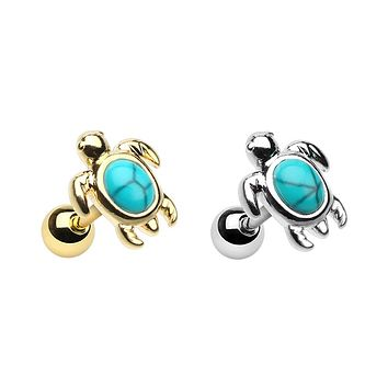 Silver, Gold Wild Marine Synthetic Turquoise Stone Turtle Cartilage Tragus Earring