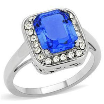 Sapphire Fire - FINAL SALE  Pretty Stylish Sapphire and Clear Cubic Zirconias Comfort Fit Stainless Steel Ring