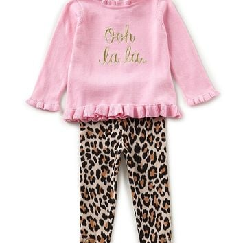 kate spade new york Baby Girls 12-24 Months Long-Sleeve Sweater & Leopard Leggings Set | Dillards