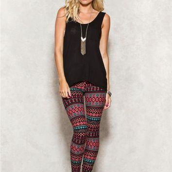 Chevron Geo Peached Leggings