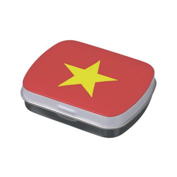 Patriotic candy tins with Flag of Vietnam