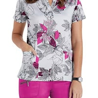 Beyond Scrubs Blushing Blooms Henley Print Scrub Tops | Scrubs & Beyond