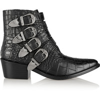 Toga - Pulla croc-effect leather ankle boots