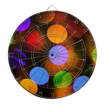 Multicolored Christmas lights. Dart Board