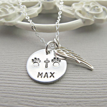 Custom pets name necklace, Engraved dog name, personalized dog name, Paw Print and Angel Wing, Sterling Silver