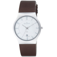 Skagen 233XXLSL Men's Denmark White Dial Brown Leather Strap Date Stainless Steel Watch