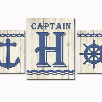 Navy blue Nursery wood wall art nautical decor baby boy room decoration kids room poster playroom bathroom artwork anchor captains wheel