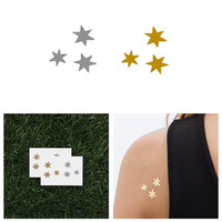 Fingertips - Metallic Gold / Silver Temporary Tattoo (Set of 4)