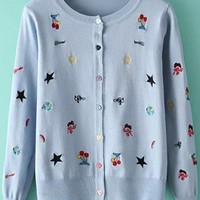 Blue Embroidered Knitted Cardigans