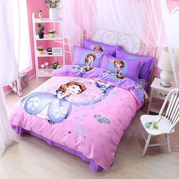 Cool Purple Pink Sofia Princess Disney Comforter Bedding Set Twin Queen King Size Bed Duvet Covers 100% Cotton Girls Home 3-5 piecesAT_93_12
