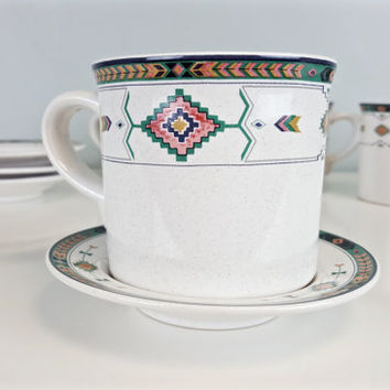 Vintage Tea Cup Set Boho Navajo Aztec Tribal Arrow Southwest Pastel Studio Nova Adirondack Pattern Tea Saucer Boho Chic Kitchen Home Decor