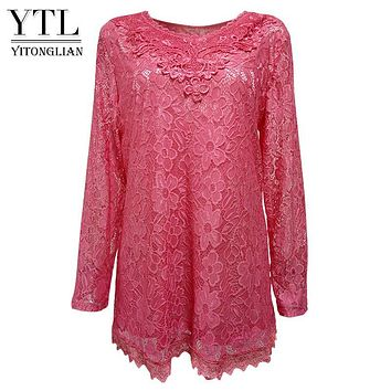 Yitonglian 2017 Women Plus Size Retro Floral Lace Bloues Long Sleeve V Neck Crochet Tunic Top Ladies Shirts Tee 6XL 7XL 8XL H026