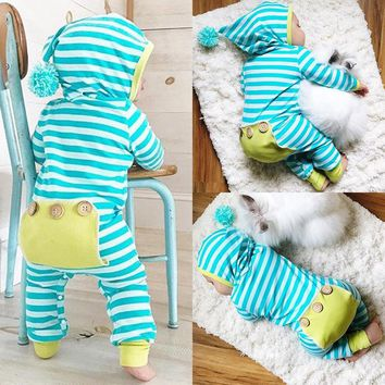 Newborn Baby Boy Girl Cotton Infant Bodysuit Hooded Clothes Set