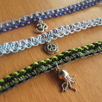 Choose Your Hemp Anklet - Hemp Jewelry - Hippie Anklets - Macrame Jewelry, Octopus Anklet, Om Jewelry, Peace Anklet