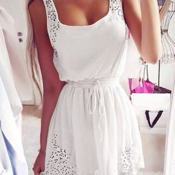 White Elastic Waist Skater Dress