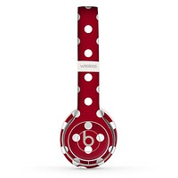 The Dark Red & White Polka Dot Skin Set for the Beats by Dre Solo 2 Wireless Headphones