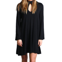 Black Piko Keyhole Bell Sleeve Dress