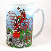 Six Flags Looney Tunes 3-D Coffee Mug Cup 16oz Bugs Tweety Marvin Colossus k376