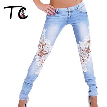 TC High Quality Lace Skinny Jeans For Women 2017 Spring Fashion Slim Hollow Out Bleached Denim Pencil Pants Big Szie XXL FT00185