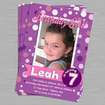 Printable Photo Purple Girl Birthday Party Invitations! Custom Personalized Invitations. 24hr turn around. Choose Your Size 4x6 or 5x7