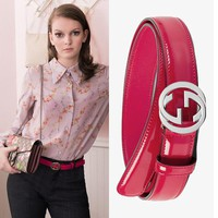 100/40 NEW $595 GUCCI Hot Pink SILVER GG LOGO BUCKLE Glazed Leather Spring BELT