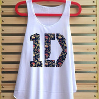 1D flower shirt one direction tank top singlet clothing vest tee tunic - size S M