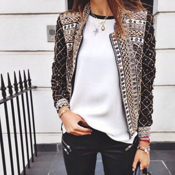 Tribal Print None Button Long-Sleeve Cardigan