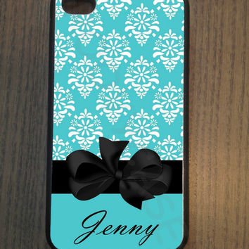 Monogram Teal Damask with Bow Rubber Case Fits iPhone 4/4S iPhone5/5S/5C Samsung Galaxy S3/S4