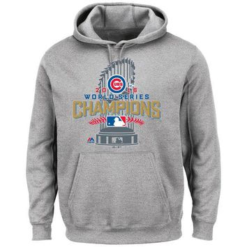 Men's Chicago Cubs Majestic Heathered Gray Big & Tall 2016 World Series Champions Locker Room Pullover Hoodie