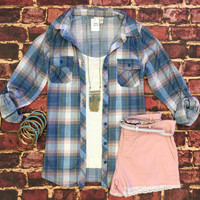 Penny Plaid Flannel Top: Dusty Blue