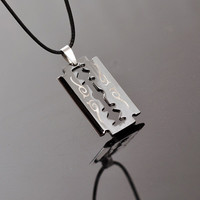 New Arrival Gift Jewelry Shiny Stylish Titanium Lock Korean Strong Character Blade Knife Pendant Colourfast Accessory Necklace [6542795971]