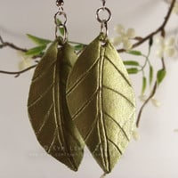 Leather Leaf Earrings, Sparkly Green, Leaf Charm, Spring Jewelry, Gold and Green, Glitter Charm, Spring Leaf, Forest Jewelry