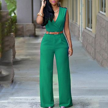 White Jumpsuit Long Pants For Women Rompers Sleeveless V-neck Summer Wide Leg Jumpsuit With Belt Overalls