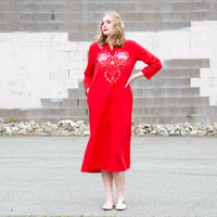 vintage red maxi dress / 70s dress large / red boho dress / red dress long / mexican dress / embroidered dress / caftan dress / tunic dress