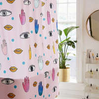 Hello Sayang For DENY Eyes Hands Lips Shower Curtain | Urban Outfitters