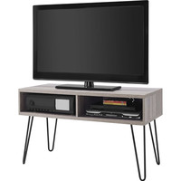 Modern TV Stand In Oak Finish With Mid-Century Style Metal Legs