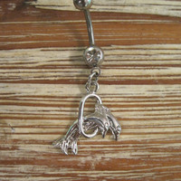 Belly Button Ring - Body Jewelry - Silver Jumping Dolphins Belly Ring - Dolphins Jumping Through Hoop Belly Button Ring