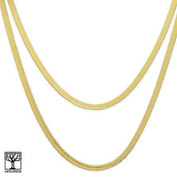 "Jewelry Kay style Men's Bling 14K Gold Plated 6 mm 20"" / 24"" Double Herringbone Chain Necklace"