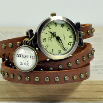 "Refuse to sink"" Vintage Look Leather Wrap Watch, Brown Leather Vintage Watch, Anchor Charm Wrist Watch Women Accessories Inspirational Quote"