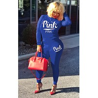 Victoria's Secret autumn and winter new letter embroidery women's long-sleeved sports suit two-piece blue