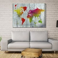 """canik208 Canvas Print Artwork Stretched Gallery Wrapped Wall Art Painting world map Size 26x37"""""""