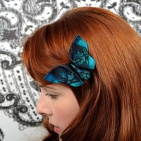 Butterfly Hair Clip Peacock Fascinator Silk Origami by SewSmashing
