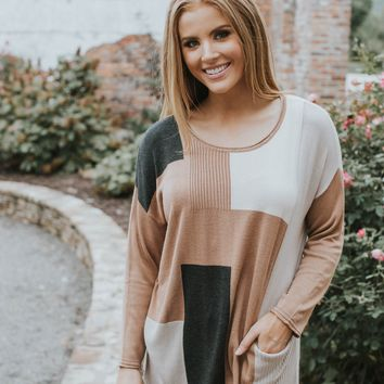 Autumnal Color Block Sweater, Brown