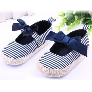 Newborn Girls Ribbon Bowknot Baby Shoes Kids Toddler Princess Striped Crib Shoes 0-12 M