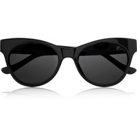 The Row - Cat eye leather-trimmed acetate sunglasses