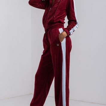 Fila Women's Stretchy Mid Rise Drawstring Velour Track Pants in RIOR SKYW