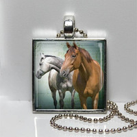Horses, horse jewelry, 2 horses Art pendant, equestrian, made in TN, square pendant, gift under 25, shop small, shop local TN, horse photo
