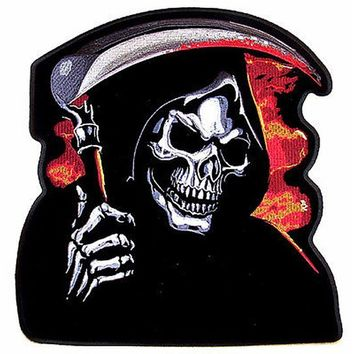 JUMBO DEATH GRIM REAPER MOTORCYCLE PATCH JBP52 jacket back patches embrodiered