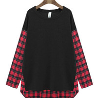 Plaid Embroidered Long Sleeve T-Shirt